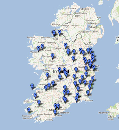 Map Of Ireland Heritage Sites.Places To See Buildings Of Ireland National Inventory Of