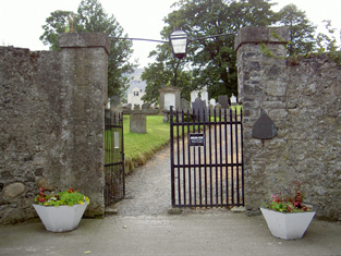 Entrance gates to east