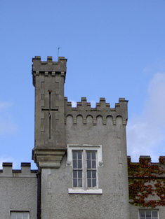 Turret and top of tower, west elevation