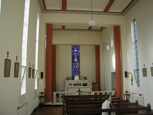 View of interior looking towards the altar (south).