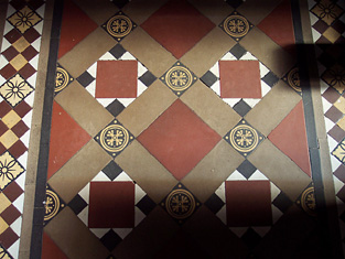 Detail of Victorian floor tiling.