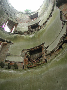 Detail of interior of round tower to southwest corner.