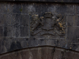 Detail of Pakenham Family coat of arms to entrance porch.