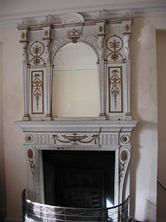 Detail of fireplace first floor.