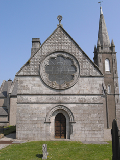"View of church (south elevation) including view of stone work inscribed: ""THESE STONES SHALL BE FOR A MEMORIAL""."