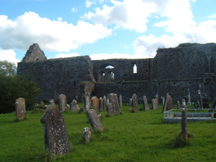 View of graveyard and medieval friary.