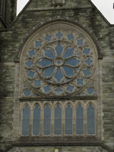 Window to front (west) elevation of nave