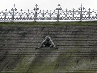 Detail of dormer and cast-iron cresting from north