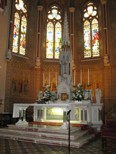 Altar and reredos from south-west