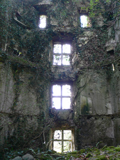 View of inside of tower house, looking west.