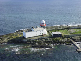 Aerial view of lighthouse and keeper