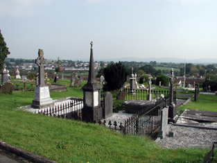 View of graveyard to site.