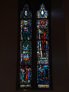 "View of Gibbons Memorial Window supplied (1925) by Harry Clarke (1889-1931) of Dublin depicting ""S. Colman"" and ""S. Brendan"" dedicated: ""Pray for the souls of Patrick and Catherine Gibbons"".  Photography by James Fraher"