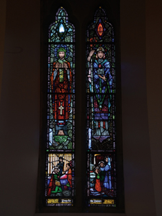 "View of Anonymous Memorial Window supplied (1925) by Harry Clarke (1889-1931) of Dublin depicting ""S. Enda"" and ""S. Jarlath"" dedicated: ""Pray for the Donors"".  Photography by James Fraher"