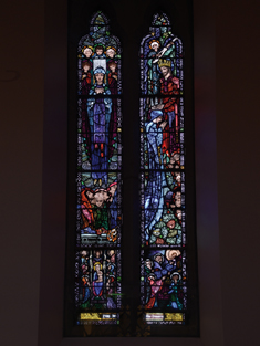 "View of Anonymous Memorial Window supplied (1925) by Harry Clarke (1889-1931) of Dublin depicting ""The Assumption of Our Lady"" and ""The Coronation of Our Lady"" dedicated: ""Pray for the Donors"".  Photography by James Fraher"