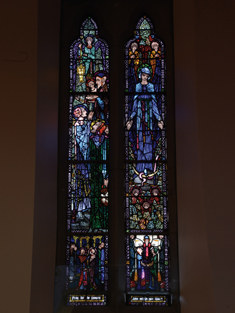 "View of Walsh Memorial Window supplied (1925) by Harry Clarke (1889-1931) of Dublin depicting ""The Purification or The Presentation in The Temple"" and ""Our Lady of The Immaculate Conception"" dedicated: ""Pray for the Donors John and Margaret Walsh"".  Photography by James Fraher"