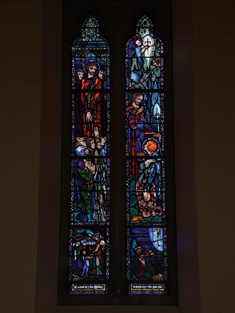 "View of Malley Memorial Window supplied (1925) by Harry Clarke (1889-1931) of Dublin depicting ""Ecce Homo or Christ Before Pilate"" and ""Mary Magdalene in The Garden"" dedicated: ""Erected by John Malley in memory of his parents"".  Photography by James Fraher"