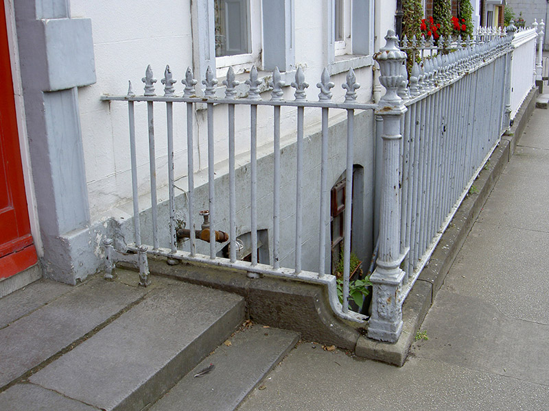 Detail of plinth and railings to basement