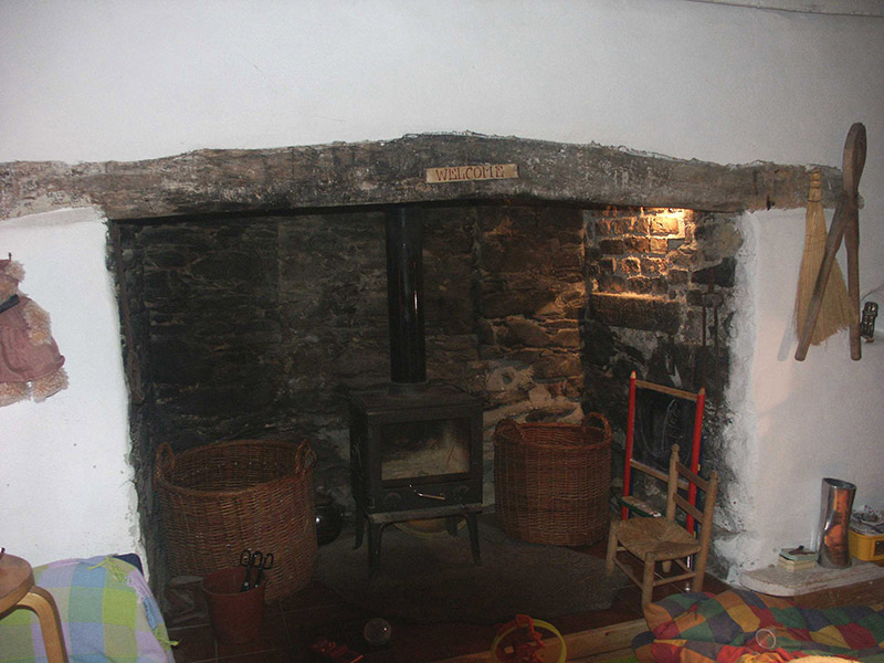 View of fireplace