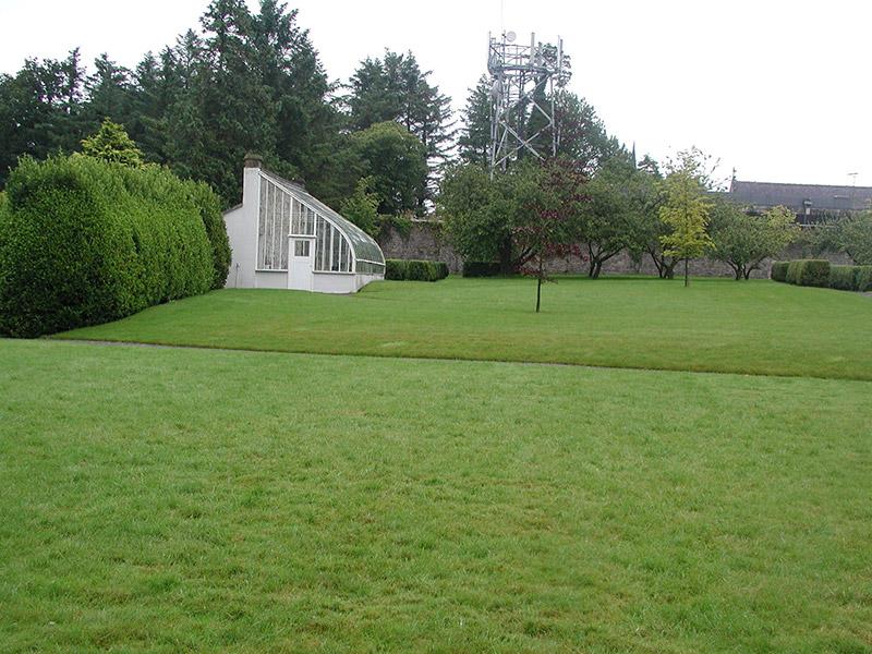 Rear garden and glasshouse