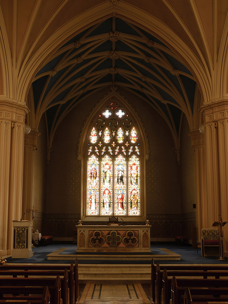 View of interior towards sanctuary (east).  Photography by James Fraher