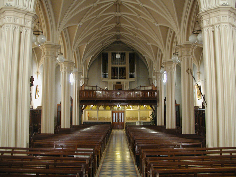 View of interior towards entrance (west).