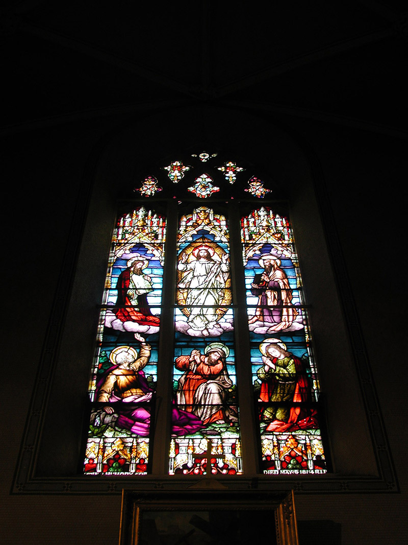 """View of Gallagher Memorial Window (ob. 1884) by ???? (????) of ???? depicting """"The Ascension"""" dedicated: """"In Memory Of Hugh Gallagher Died May 9th 1884 RIP""""."""