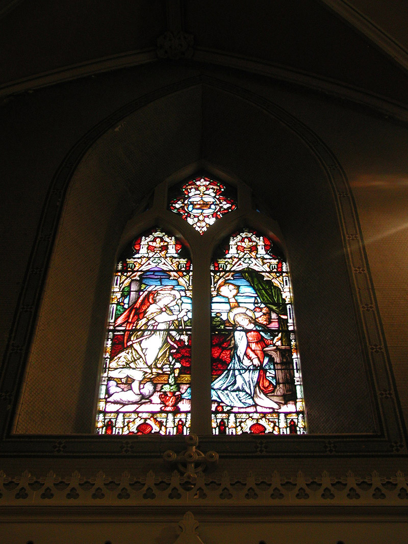 """View of Callaghan Memorial Window (????) by ???? (????) of ???? depicting """"The Annunciation"""" dedicated: """"In Memory Of Michael Callaghan ????""""."""