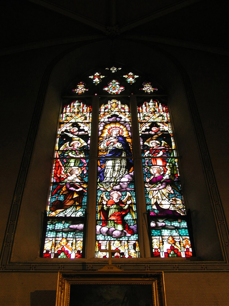 """View of ???? Memorial Window (1893) by ???? (????) of ???? depicting """"The Assumption"""" dedicated: """"Pray For ???? The Year 1893""""."""