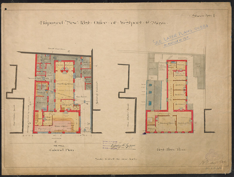 "View of drawing signed (1899) by John Howard Pentland (1855-1919), Principal Surveyor for the Board of Works (appointed 1891; retired 1918), titled ""Proposed New Post Office at Westport County Mayo""."