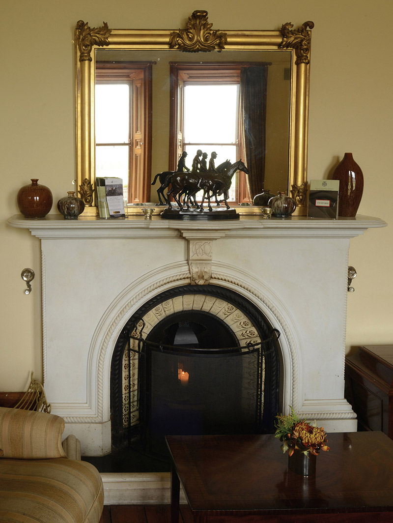 """View of interior (study) including view of chimneypiece inscribed: """"UAK [Utred Augustus Knox]"""".  Photography by James Fraher"""