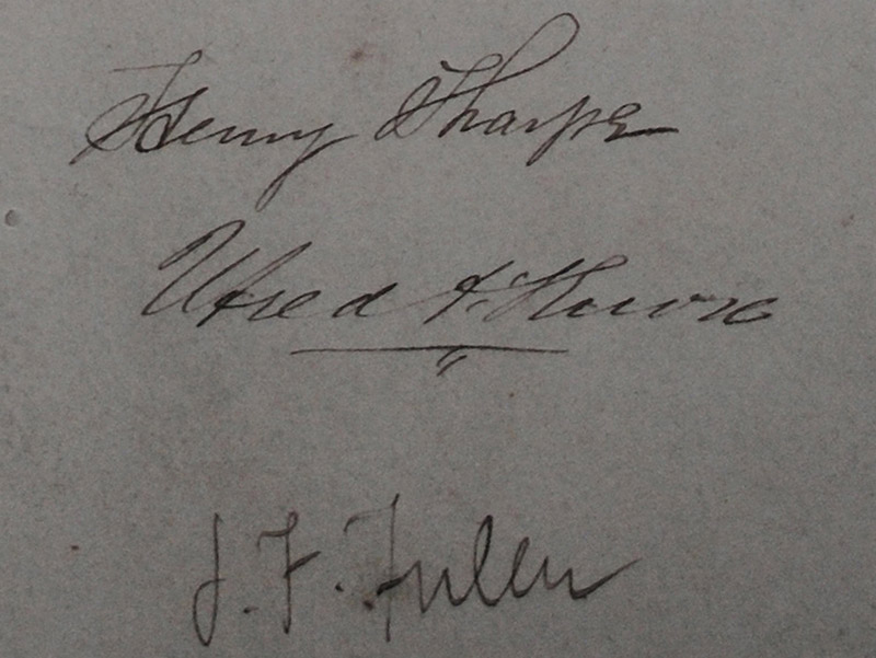 Detail of drawing signed by Utred Augustus Knox JP DL (1825-1913) and James Franklin Fuller (1835-1924) of Great Brunswick Street [Pearse Street], Dublin.