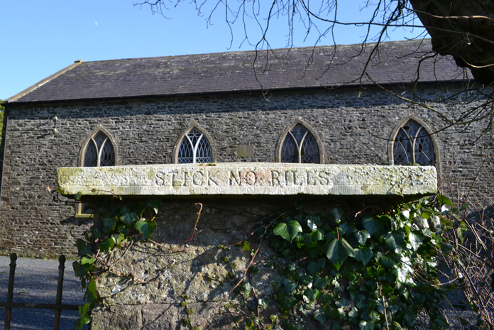 "Cahans Presbyterian Church, Monaghan 02 - ""STICK NO BILLS"""